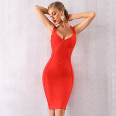 KELLIPS Women Sexy Halter V Neck Summer Club Bandage Dress