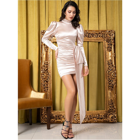 KELLIPS Sexy Open Back High Collar Puff Sleeve Bodycon Party Dress