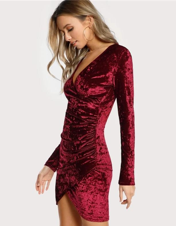 KELLIPS Burgundy Party Sexy Solid Ruched Velvet Dress