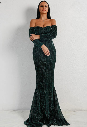 KELLIPS Long Sleeve Off Shoulder Sequin Backless Dresse
