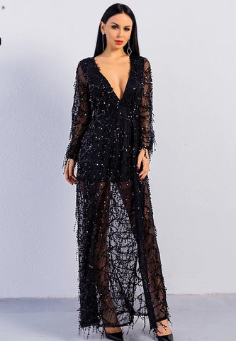 KELLIPS Sexy Ankle-length Long Sleeve Deep V Two Split Sequin Maxi  Dress