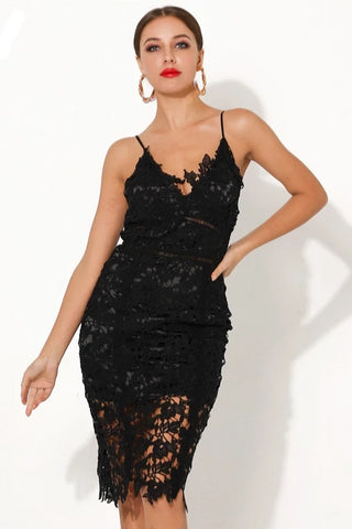 KELLIPS Sexy V Neck Off Shoulder Lace Female Knee-length Bodycon Dress