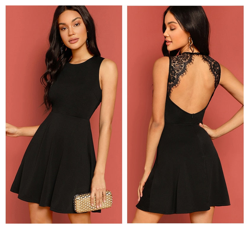 KELLIPS Black Solid Backless Skater Sexy Lace Dress