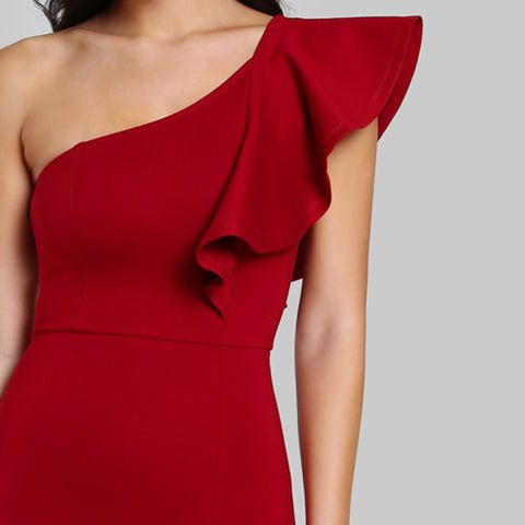KELLIPS One Shoulder Women Sexy Flounce Midi Dress