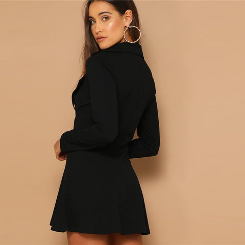 Black Double Breasted Detail Asymmetrical Zip Up Notched Dress