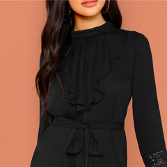 KELLIPS Black Elegant Pleated Ruffle Trim Dress