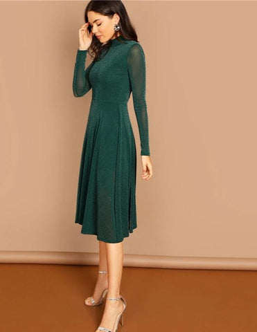 KELLIPS Fit And Flare Stand Collar Long Sleeve Dress