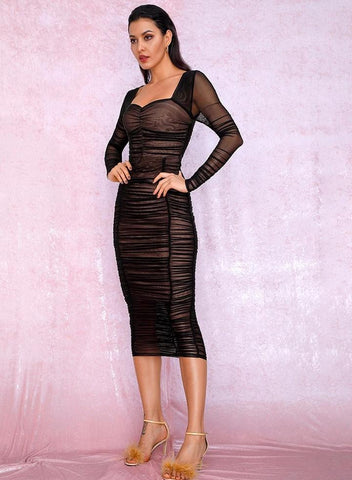 KELLIPS Sexy Square Collar Black Elastic Mesh Slim Long Sleeve Party Dress