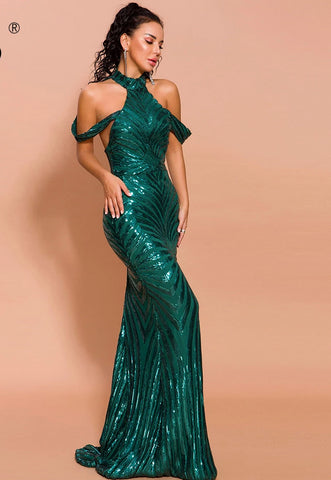 KELLIPS Sexy High Neck Off Shoulder Sequin Dress