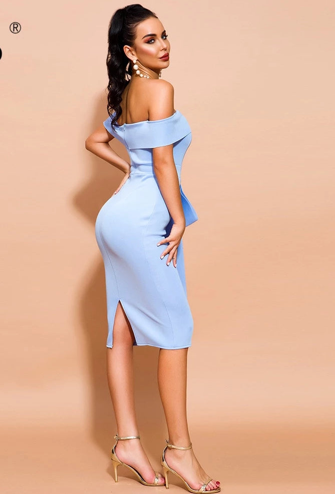 KELLIPS Sexy Off Shoulder Short Sleeve Bodycon Dress