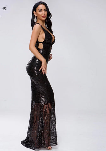 KELLIPS Sexy Deep V Off Shoulder Hollow Out Sequin Dress