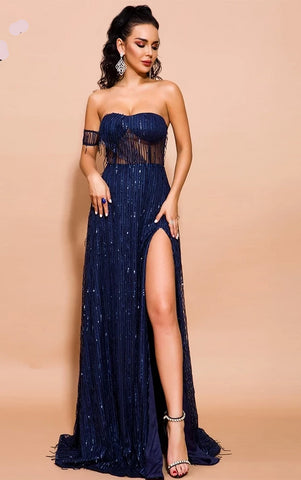 KELLIPS Off Shoulder Sequin Elegant High Split Backless Maxi Dress