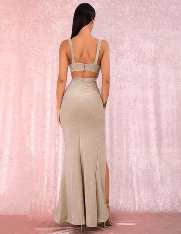 KELLIPS Apricot Tube Top Cut Out Slim Split Reflective Fabric Party Maxi Dress