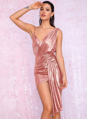 KELLIPS Sexy V-Neck Pink Pleated Ribbon Splicing Bodycon Reflective Party Dress