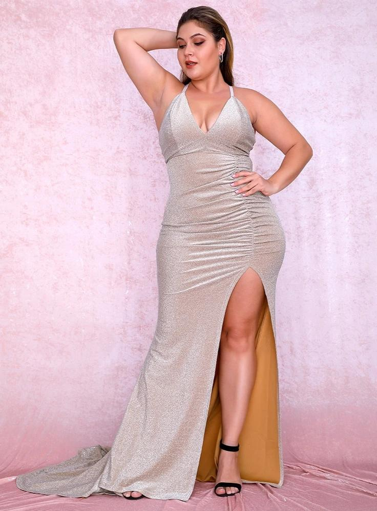KELLIPS Plus size Sexy Nude Deep V-Neck Cut Out Maxi Dress