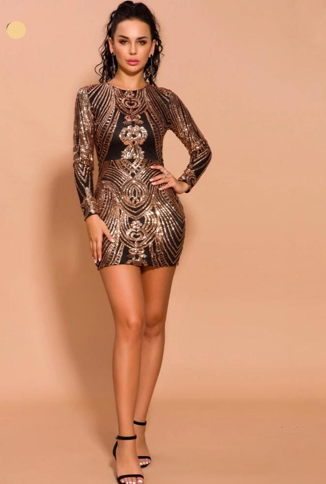KELLIPS O Neck Long Sleeve Sequin Dress