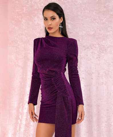 KELLIPS Sexy Purple Round Neck Slim Fit Ribbon Long Sleeve Glow Party Dress