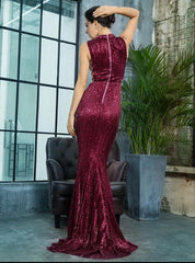 KELLIPS Wine Ren Collar Side Cut Out Fishtail Slim Elastic Sequins Long Dress