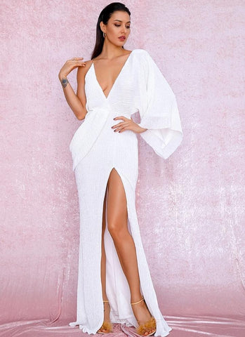 KELLIPS Sexy White V-Neck Single Sleeve Sequins Split Party Maxi Dress