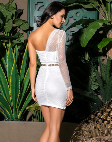 KELLIPS Sexy White Tube Top Pleated Polka Dot Material Bodycon Party Dress