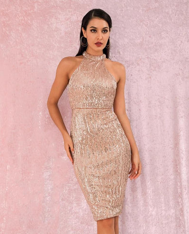 KELLIPS Sexy Halter Strapless Slim Fit Elastic Sequined Knee Party Dress