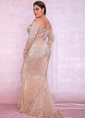KELLIPS Plus Size Sexy Rose Gold Deep V-Neck Off-The-Shoulder Sequins Maxi Dress