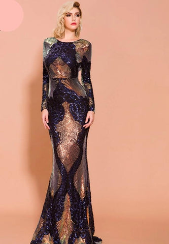 KELLIPS Sexy O Neck Long Sleeve Backless Sequin Dress