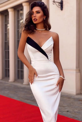 KELLIPS Summer Women Strapless Club Bandage Dress