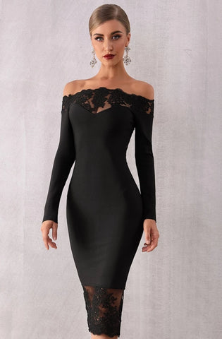 KELLIPS Black Slash Neck Bandage Party Dress