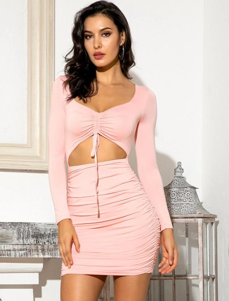 KELLIPS Sexy Pink Cut Out Bodycon Tie Wraps Mini Dress