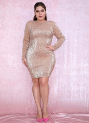 KELLIPS PLUS SIZE Rose Gold Roun Sequins Bodycon Party Mini Dress