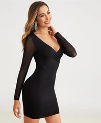 KELLIPS Surplice Neck Ruched Detail V-back Mesh Sleeve Dress