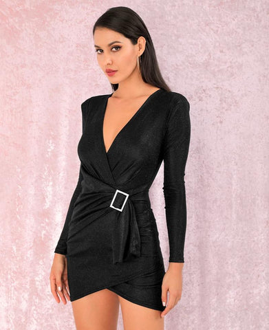 KELLIPS Black V-Neck Shoulderpad Metal Buckle Bodycon Party Mini Dress