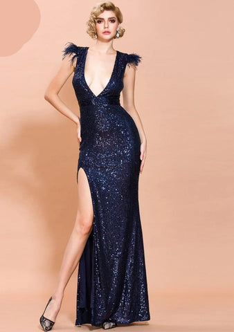 KELLIPS Sexy Deep V Off Shoulder Feather Sequin Dress