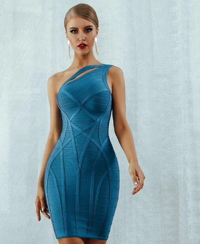 KELLIPS New Arrive One Shoulder Hollow Out Runway  Bandage Party Dress