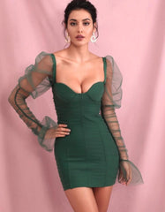 KELLIPS Sexy Green Tube Top Smocked Puff Sleeve Mesh Party Mini Long Sleeve Dress