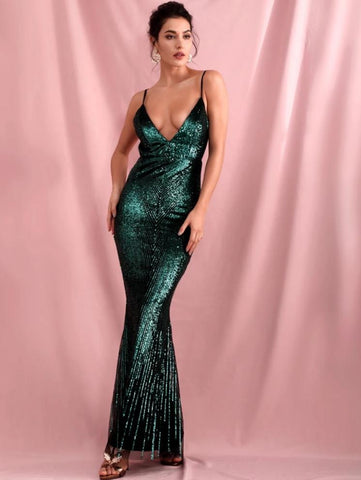 KELLIPS Sexy Green Deep V-Neck Geometric Sequins Slim Fit Open Back Fishtail Party Maxi Dress