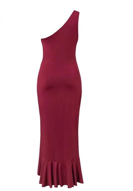 KELLIPS Plus Size One Shoulder Ruched Ruffled Bodycon Dress