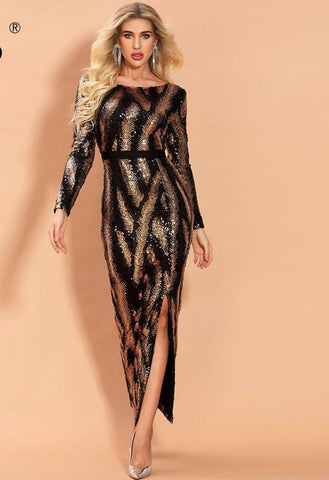 KELLIPS Sexy O Neck Long Sleeve Sequin Dress