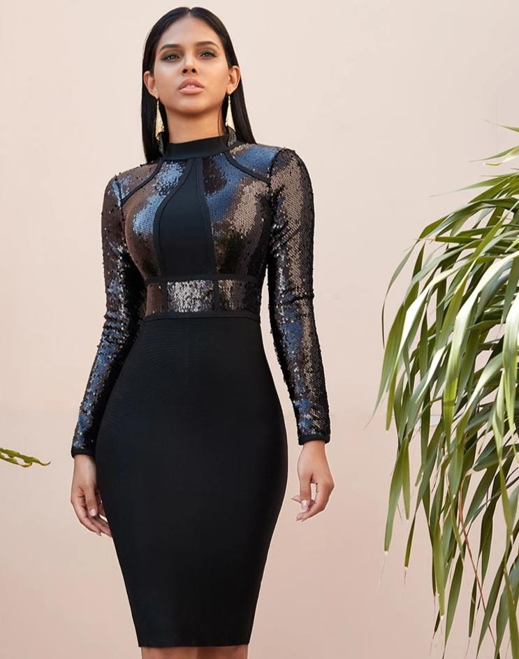 KELLIPS Black Sequined Long Sleeve Bandage Dress