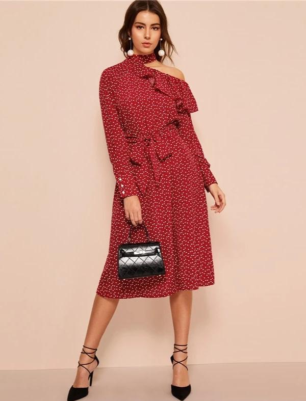 KELLIPS Glamorous Long Sleeve Belted Midi Dress