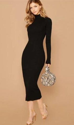 KELLIPS Black Stand Collar Ribbed Knit Bodycon Dress