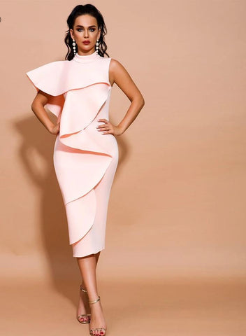 KELLIPS Off Shoulder Ruffles Knee-length Solid Color Backless Bodycon Dress