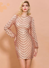 KELLIPS Sexy O Neck  Long Sleeve Sequin Striped Dress