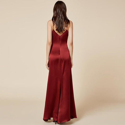 KELLIPS Sexy Front Split Party A-line Backless Chiffon Dress
