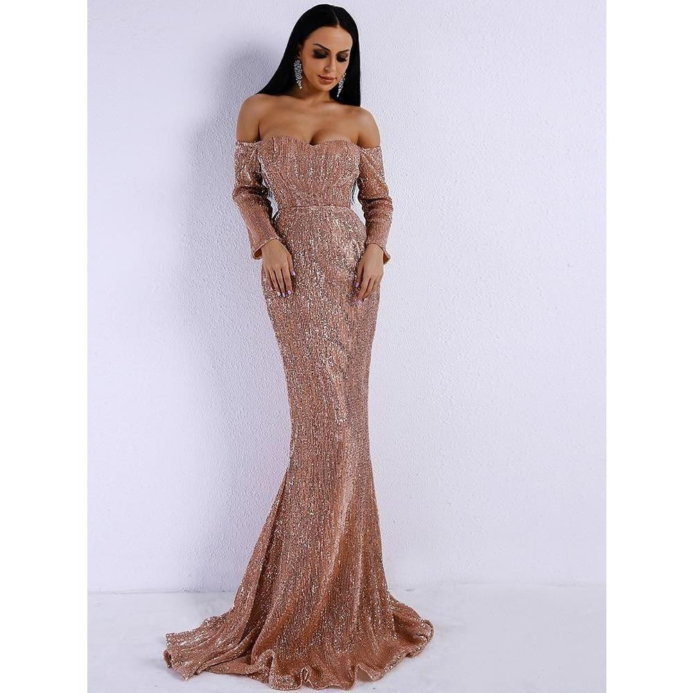 eacd3a09 KELLIPS Long Sleeve Off Shoulder Sequin Backless Maxi Dress