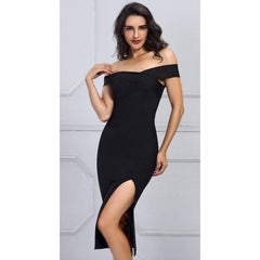 KELLIPS Black Off the Shoulder Sexy Fashion Bandage Dress - KELLIPS