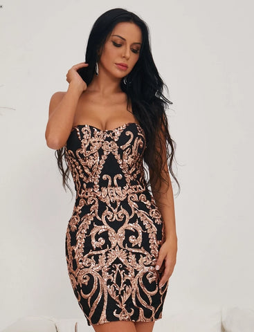 KELLIPS Sexy Bra Off Shoulder Retro Geometry Sequin  Dress