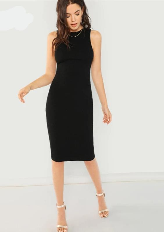KELLIPS Black Elegant Solid Pencil Dress