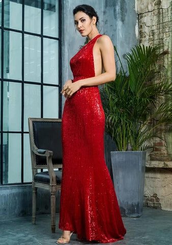 KELLIPS Sexy Open Back Separate Sleeve Elastic Sequins Long Dress
